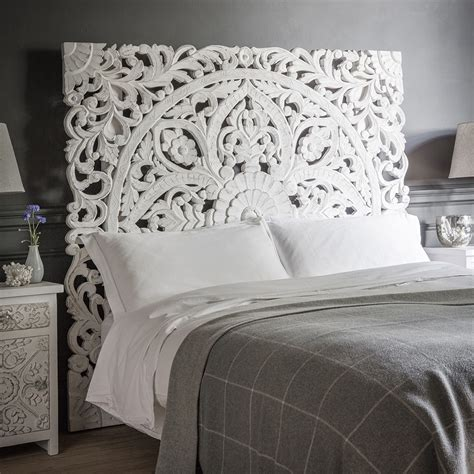 wood carved headboards atika white carved headboard