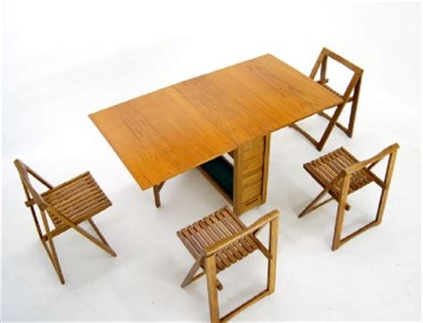 Drop Leaf Dining Table With Folding Chairs Mid Century Modern Drop Leaf Dining Table 4 Self Storing Folding Chairs Ebay