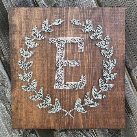 Wood And String - custom string laurel leaf monogram sign by
