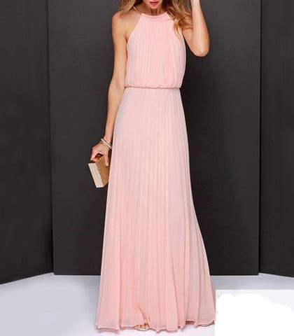 chiffon maxi dress halter style bodice knife pleated