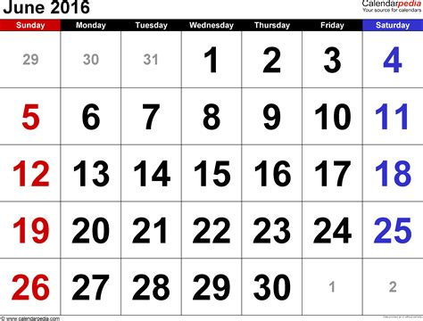 Calendar For June 2016 June 2016 Calendars For Word Excel Pdf