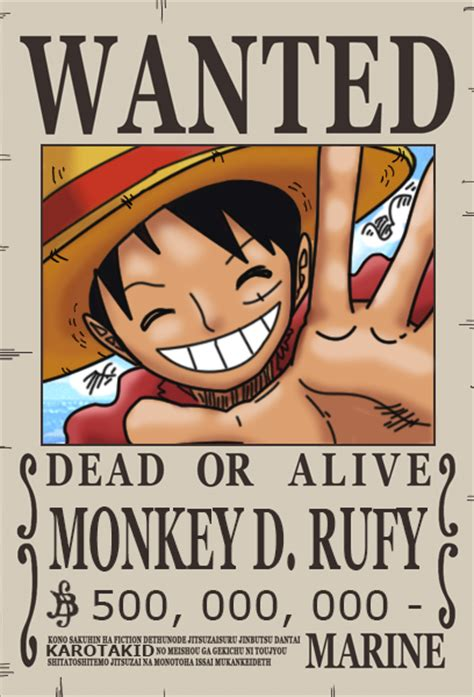 anoboy one piece 500 rufy dressrosa wanted poster 500 000 000 berry by