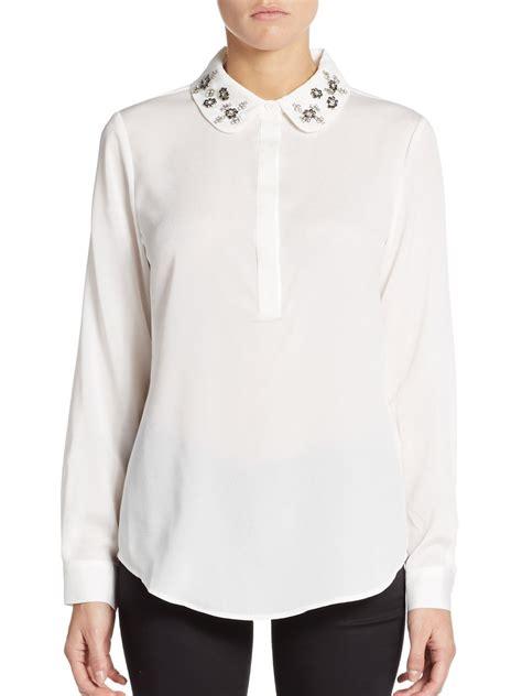 Ivanka Blouse ivanka beaded collar blouse in white lyst
