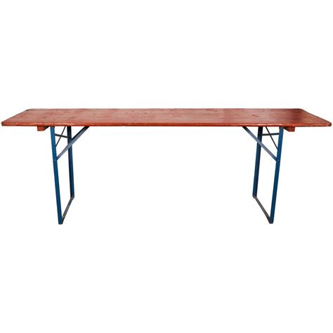 Folding Metal Table Legs Folding Orange Picnic Table With Blue Metal Legs At 1stdibs