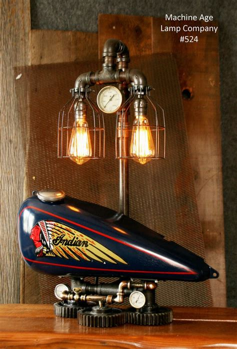 steampunk tank lamp vintage  chief motorcycle gas