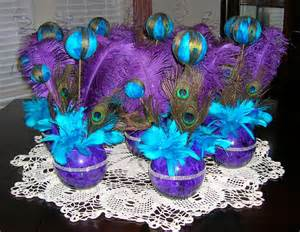 Vase With Feathers Purple And Teal Peacock Themed Wedding Or Special Event