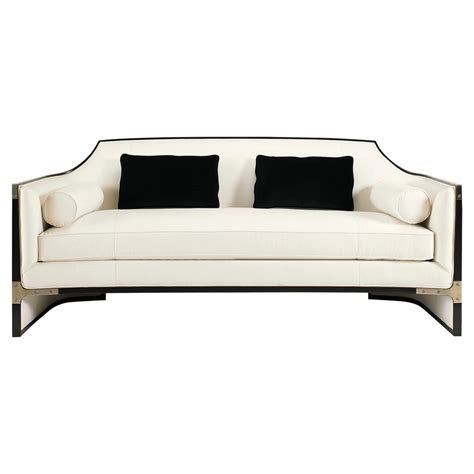 ivory couch octavio modern black tuxedo trim ivory sofa kathy kuo home