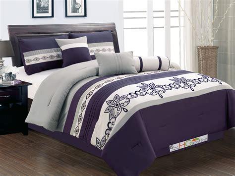 purple striped comforter 7 striped felt scroll floral leaf motif comforter set