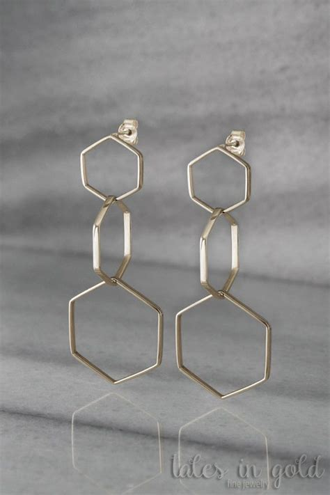 Hexagon Dangle Earrings earrings hexagon earrings dangle