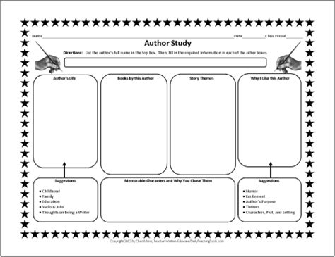 author biography graphic organizer free graphic organizers for studying and analyzing