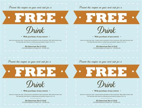 Free Coupon Template Tristarhomecareinc Drink Ticket Template