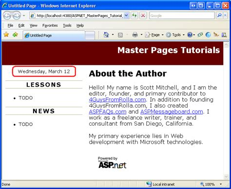 master page layout exles asp net creating a site wide layout using master pages c the