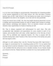 Reference Letter Template For Teachers by Sle Letter Of Recommendation For 18