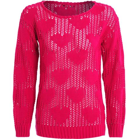 knitting pattern holey jumper womens ladies pastel soft holey crochet knitted heart pull