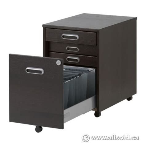 ikea galant espresso 4 drawer rolling pedestal locking