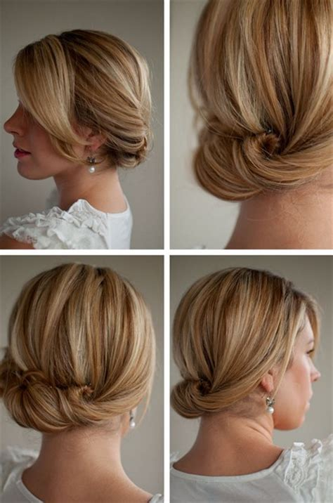 easy at home bridesmaid hairstyles smooth simple flattering updo hairstyle for long hair