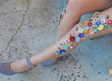calze a fiori calze a rete decorate a mano con gemme