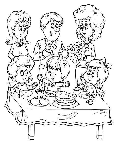 birthday themed coloring pages a family celebrate birthday boy party coloring pages a