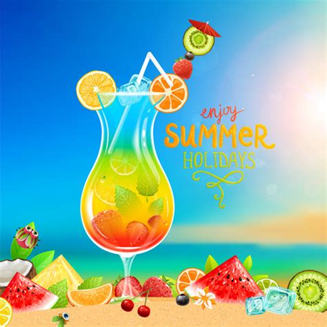 holiday cocktails background excellent summer holidays background vector vector
