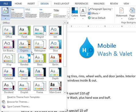 applying themes in excel 2013 word 2013 themes