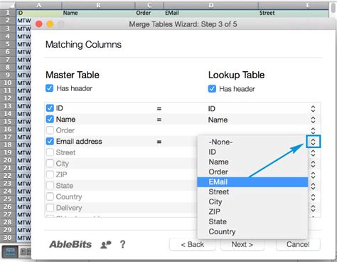 Listing Lookup How To Use Merge Two Tables App In Excel For Mac