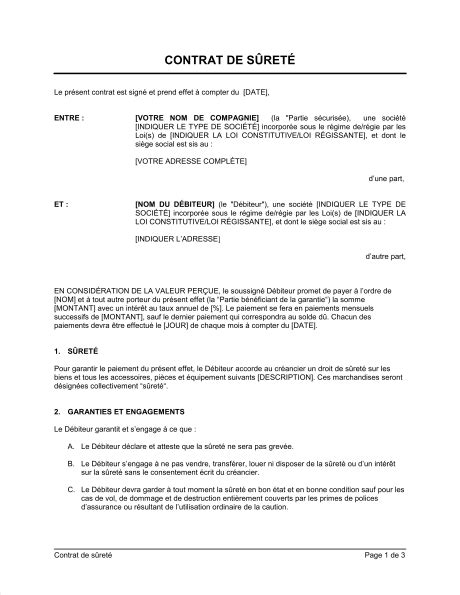 Exemple De Lettre Partenariat Entreprise Contrat De S 251 Ret 233 Version Courte Template Sle Form Biztree