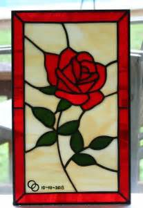 hand made little rose stained glass panel by a glass