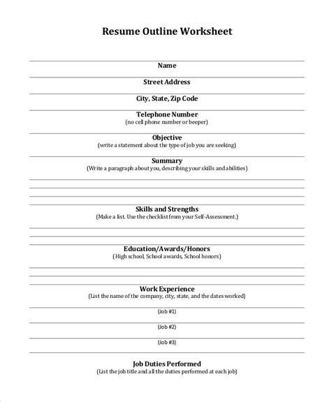 resume worksheet template 19 resume format free word pdf free premium templates