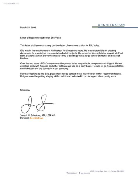 Recommendation Letter For Architect Employee Architectural Letter Of Recommendation On Behance