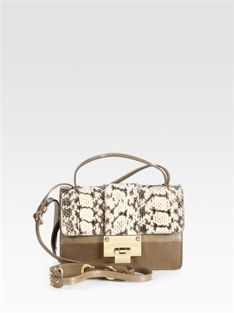 Bag Jimmy Choo Kaos jimmy choo rebel python leather shoulder bag in brown lyst