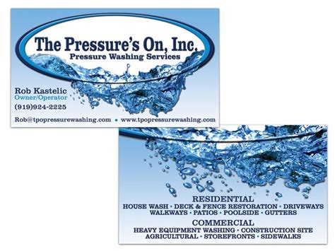 pressure washing business card templates the pressure s on power washing sided business card