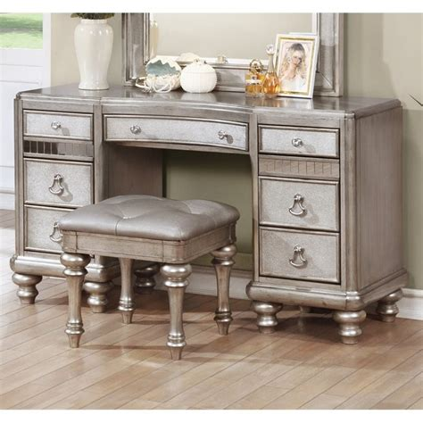 makeup vanity desk bedroom furniture coaster bling 7 drawer bedroom vanity in metallic