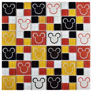 Carrara Marble Kitchen Backsplash disney mickey multi glass mosaic wall tile modern