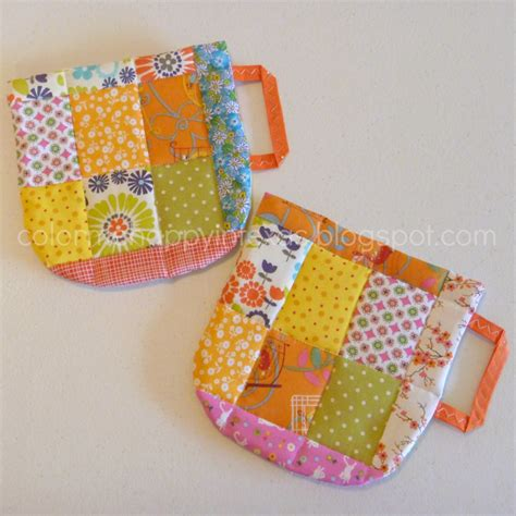 Patchwork Pot Holders - color me happy in quilted coffee cup pot holders