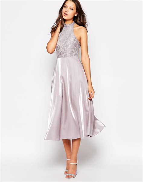 Hi Neck Lace Dress 8994 lyst true decadence high neck lace top prom dress in gray