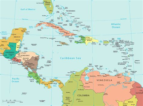 central america and the caribbean political map central america and the caribbean political map