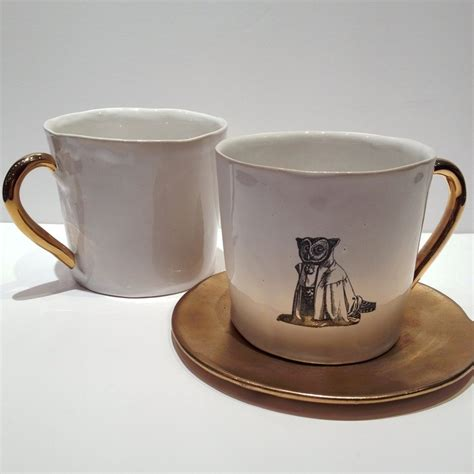 Gucci Keramic galeriesalon cup quot owl quot white gold handle by kuhn keramik yearning for it