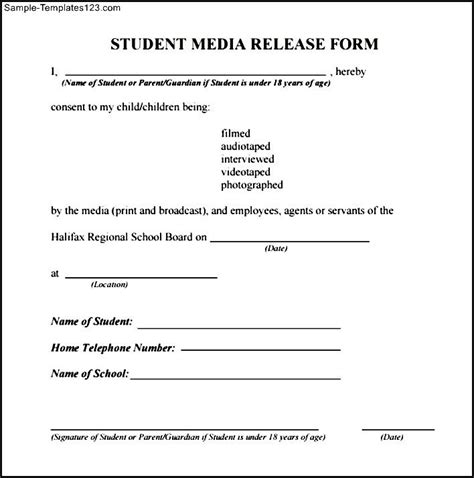 media release template student media release form sle templates