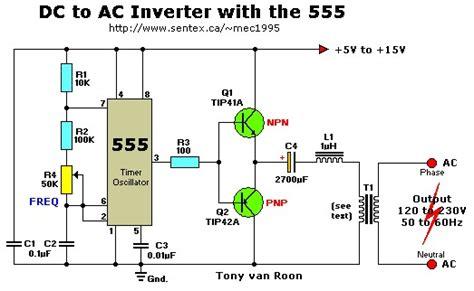 converter ac ke dc motor 12vdc to 220vac inverter with 555 timer inverter circuit