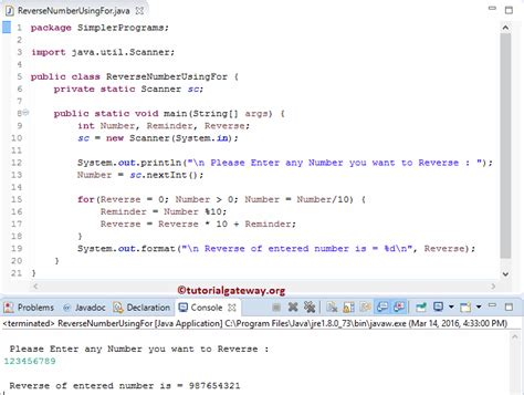 number pattern in java using for loop program to reverse a number in java