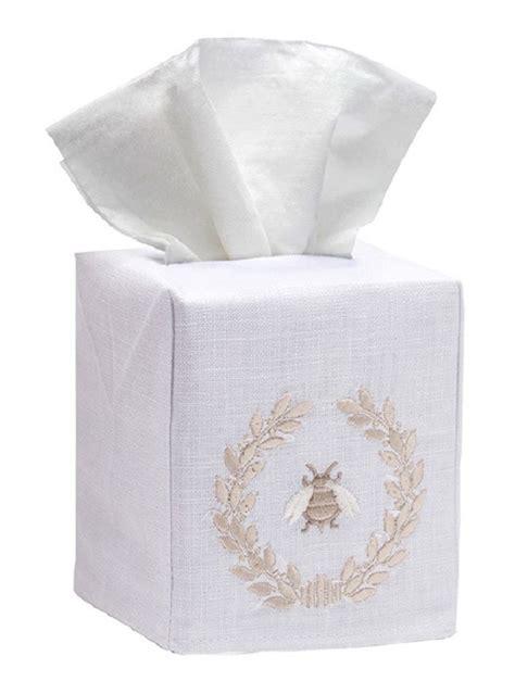 dg17 nbwbe tissue box cover linen cotton napoleon bee wreath beige