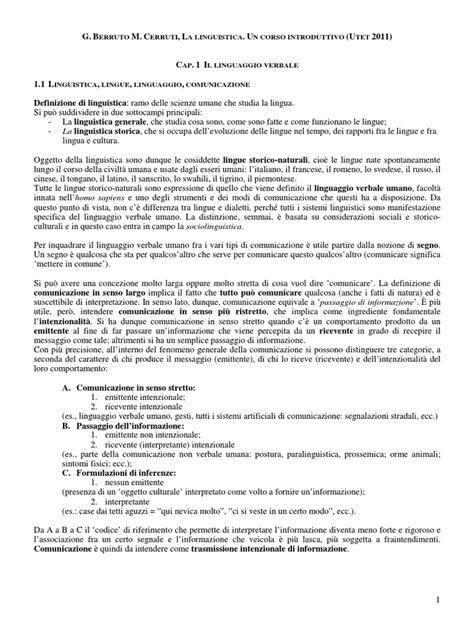 Berruto-Cerruti La Linguistica Cap. 1 Il Linguaggio
