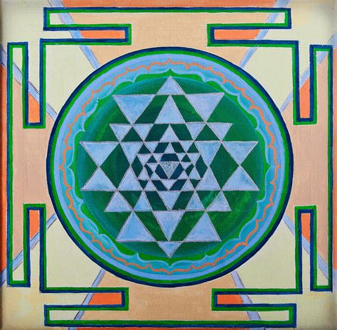 Sleeve Mahameru sri yantra for meditation painted photograph by raimond klavins