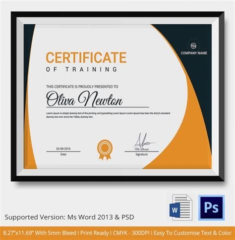 training certificate template   word  psd