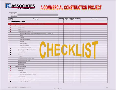construction project checklist template template