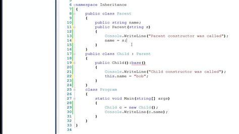 tutorial in c tutorial 6 inheritance in c code exle youtube