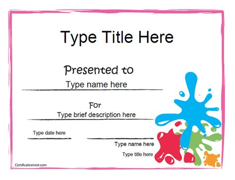 customized certificate templates create award certificate images