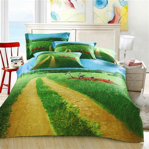 bright green comforter set bright colors spring green meadow and blue sky 3d bedding