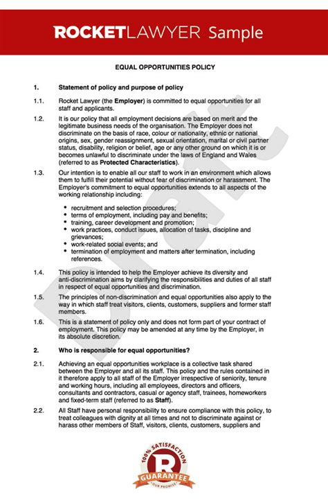 diversity policy template equal opportunities policy equality and diversity policy
