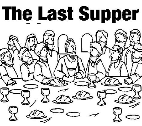 coloring page last supper sketch of jesus last supper coloring pages